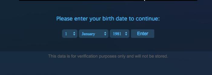 Steam Enter Birthdate